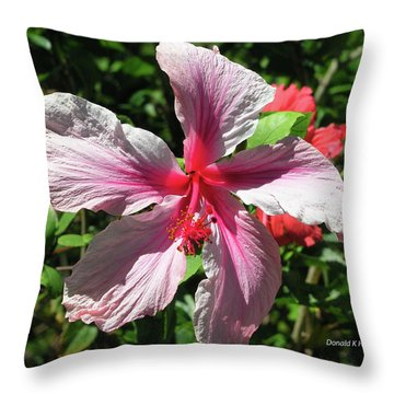 F5 Hibiscus Flower Hawaii Throw Pillow by Donald k Hall