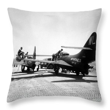 F9f Panther Jets Being Refueled Throw Pillow by Stocktrek Images