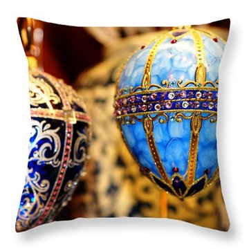 Faberge Holiday Eggs Throw Pillow