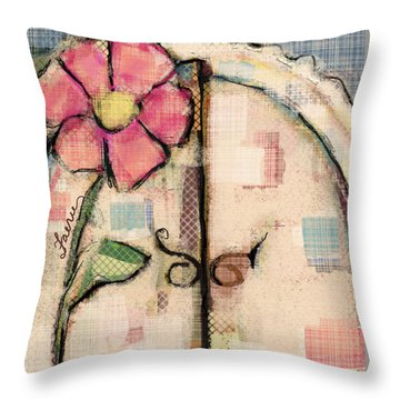 Throw Pillow featuring the mixed media Fabric Fairy Door by Carrie Joy Byrnes