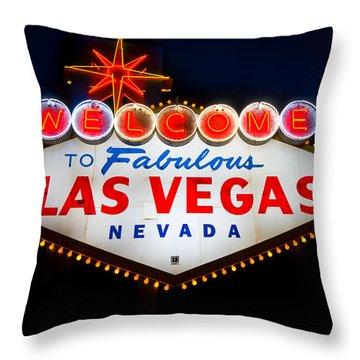 Fabulous Las Vegas Sign Throw Pillow by Steve Gadomski