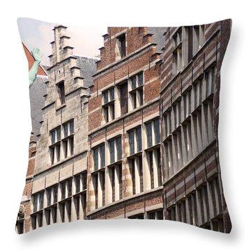 Facade Figure In Antwerp Belgium Throw Pillow