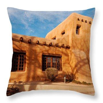 Facade Of New Mexico Museum Of Art II - Santa Fe New Mexico Throw Pillow