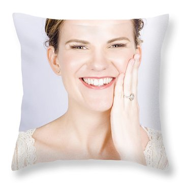 Face Of A Smiling Bride With Perfect Makeup Throw Pillow by Jorgo Photography - Wall Art Gallery