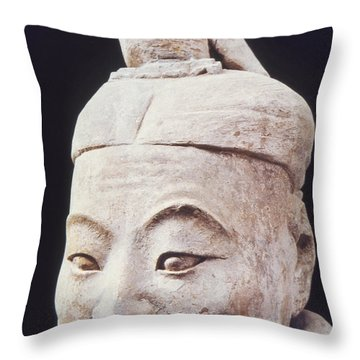 Throw Pillow featuring the photograph Face Of A Terracotta Warrior by Heiko Koehrer-Wagner