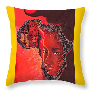 Face Of Africa Throw Pillow