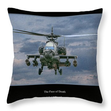 Face Of Death Ah-64 Apache Helicopter Throw Pillow