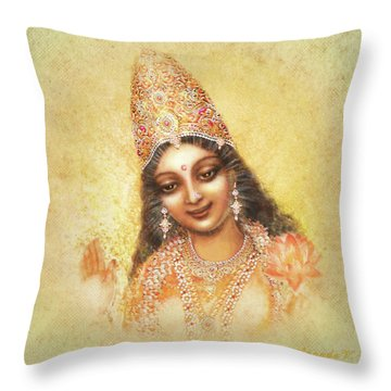 Face Of The Goddess - Lalitha Devi - Without Frame Throw Pillow