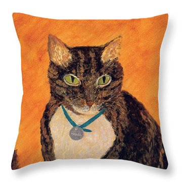 Throw Pillow featuring the painting Face-off by Kathryn Riley Parker