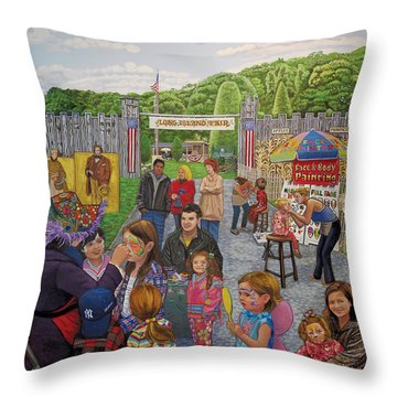 Face Painting At The Long Island Fair Throw Pillow