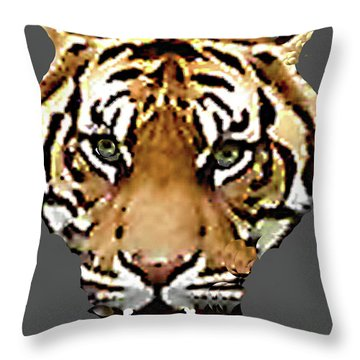 Throw Pillow featuring the photograph Face-to-face With A Bengal Tiger  by Merton Allen