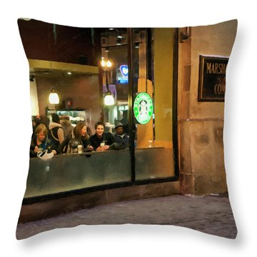Throw Pillow featuring the digital art Faces At The Coffeehouse by Chris Flees