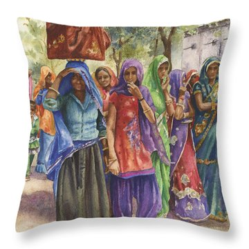 Faces From Across The World Throw Pillow by Anne Gifford