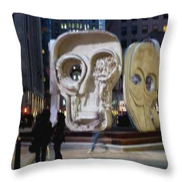 Faces Throw Pillow by Helen Haw