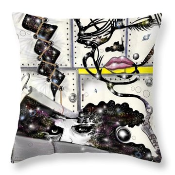 Faces In Space Throw Pillow by Darren Cannell