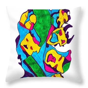 Faces Of Definism Throw Pillow