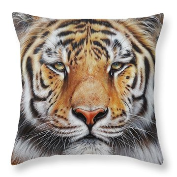 Faces Of The Wild - Amur Tiger Throw Pillow