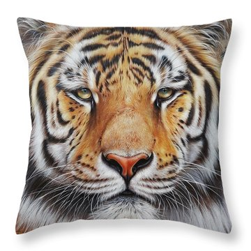 Throw Pillow featuring the drawing Faces Of The Wild - Amur Tiger by Elena Kolotusha