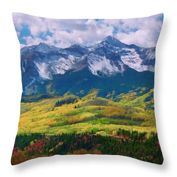 Facinating American Landscape Flowers Greens Snow Mountain Clouded Blue Sky  Throw Pillow by Navin Joshi