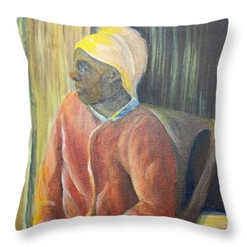 Throw Pillow featuring the painting Facing Freedom by Saundra Johnson