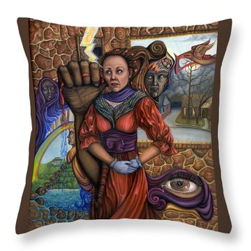 Throw Pillow featuring the painting Facing My Reality by Karen Musick