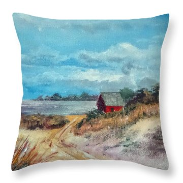 Throw Pillow featuring the painting Facing North Up The Waterway Near Swansboro Nc by Jim Phillips