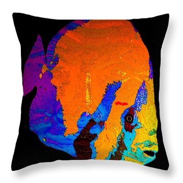 Throw Pillow featuring the painting Facing The Fish by David Lee Thompson