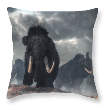Throw Pillow featuring the digital art Facing The Mammoths by Daniel Eskridge