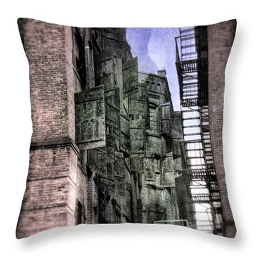 Factory Doors - Dumbo Throw Pillow by Dave Beckerman