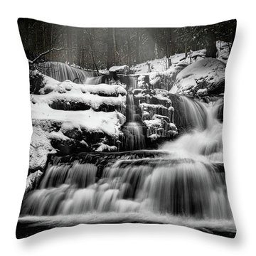 Throw Pillow featuring the photograph Factory Falls In Winter by Chris Lord