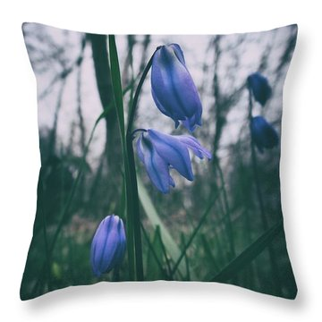 Fade Into The Blue Throw Pillow by Karen Stahlros