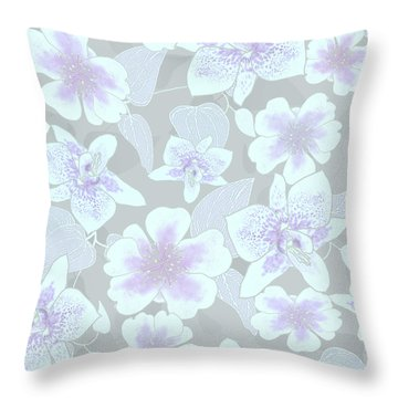 Faded Gray Spotted Orchids Throw Pillow