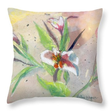 Faded Lilies Throw Pillow by Arline Wagner