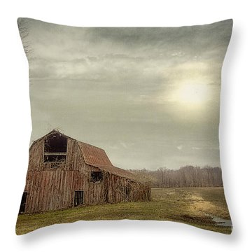 Faded Red Barn Throw Pillow