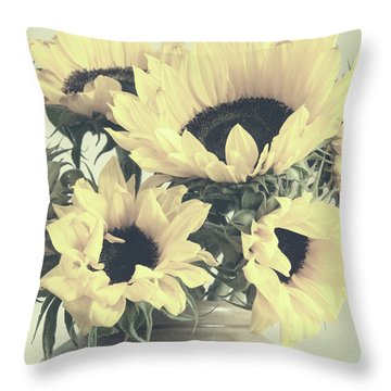 Faded Sunflowers Throw Pillow