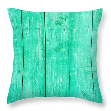 Throw Pillow featuring the photograph Fading Aqua Paint On Wood by John Williams