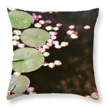 Fading Lily Pads Throw Pillow