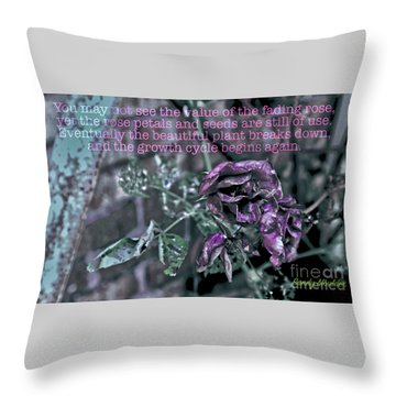 Fading Rose Throw Pillow by Sandy Moulder