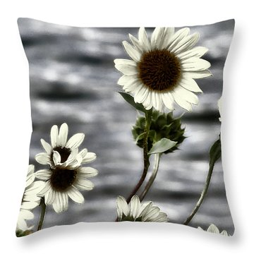 Throw Pillow featuring the photograph Fading Sunflowers by Susan Kinney