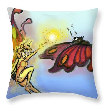 Faerie N Butterfly Throw Pillow by Kevin Middleton