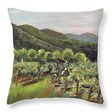 Throw Pillow featuring the painting Fainting Goat Valley - Vineyards -  Jasper, Ga by Jan Dappen