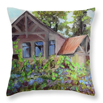 Throw Pillow featuring the painting Fainting Goat Vineyard Through The Vines by Jan Dappen