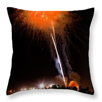 Fireworks As Seen From The Ventura California Pier Throw Pillow