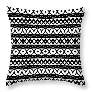 Fair Isle Black And White Throw Pillow