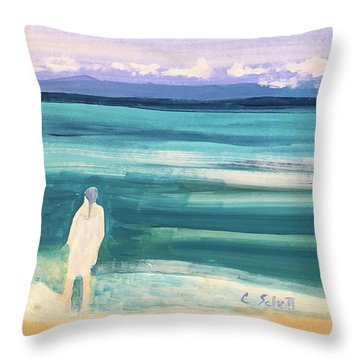 Fair Skined Bather Throw Pillow