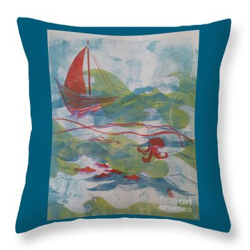 Fair Winds Calm Seas Throw Pillow by Cynthia Lagoudakis