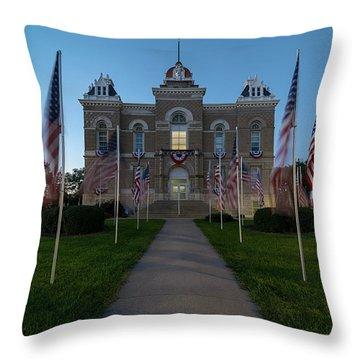 Fairbury Nebraska Avenue Of Flags - September 11 2016 Throw Pillow by Art Whitton