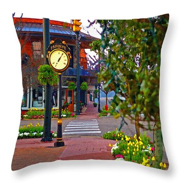 Fairhope Ave With Clock Down Section Street Throw Pillow