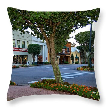 Fairhope Ave With Clock Throw Pillow