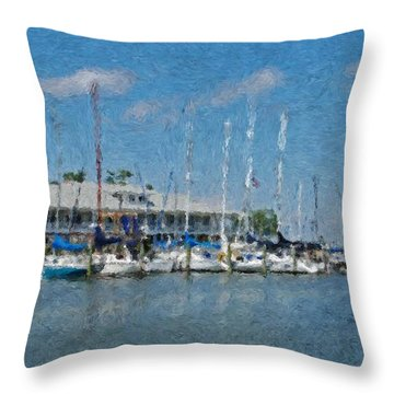 Fairhope Yacht Club Impression Throw Pillow